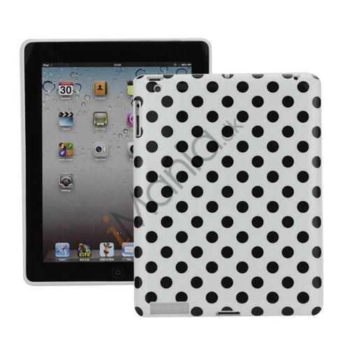 Polka Dot TPU Gel Case til Den Nye iPad 2. 3. 4. Gen - Sort / Hvid