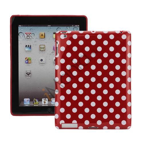 Polka Dot TPU Gel Case til Den Nye iPad 2. 3. 4. Gen - Hvid / Rød