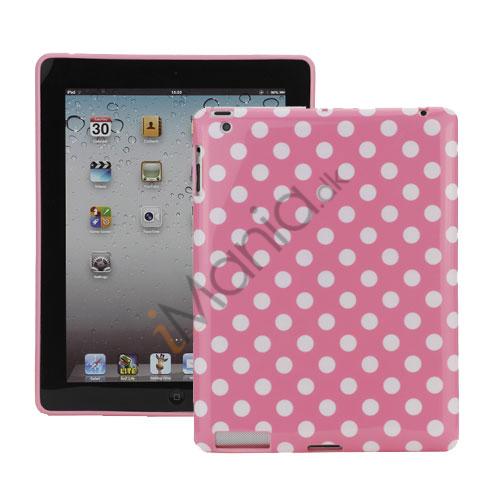 Polka Dot TPU Gel Case til Den Nye iPad 2. 3. 4. Gen - Hvid / Pink