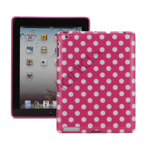 Polka Dot TPU Gel Case til Den Nye iPad 2. 3. 4. Gen - Hvid / Rose