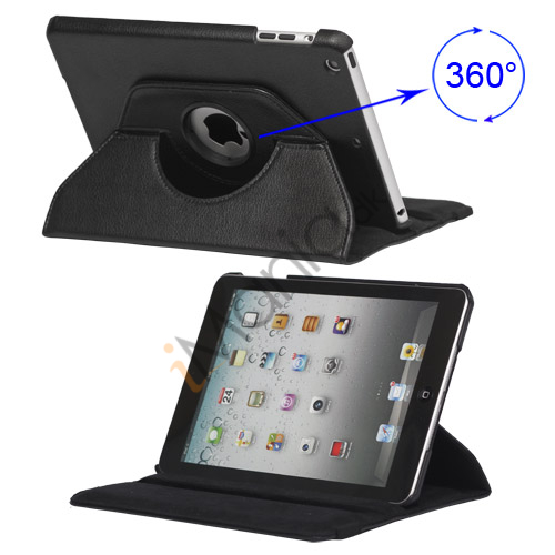 Image of   360 Degree Rotary Leather Case with Elastic Strap til iPad Mini - Sort