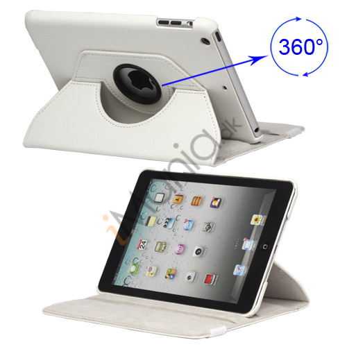 Image of   360 Degree Rotary iPad Mini Leather Case with Elastic Strap - Hvid