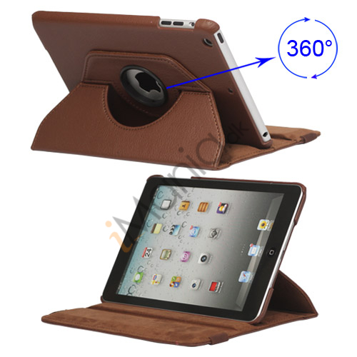 360 Degree Rotary Leather Case Cover til iPad Mini - Brun