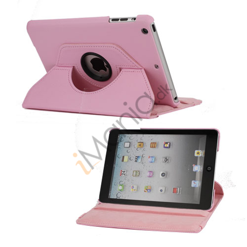 360 Degree Rotary Lædertaske Cover til iPad Mini - Pink