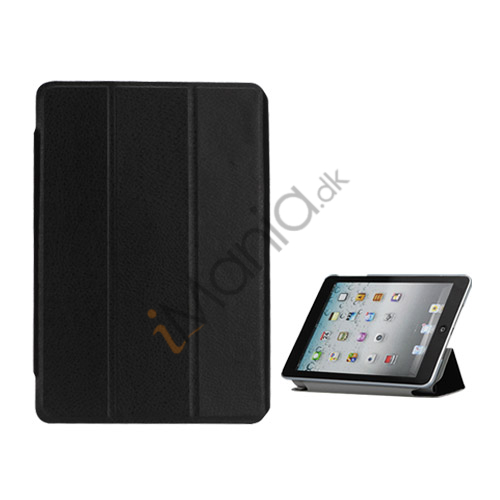 Folio Style Leather Magnetic Case Cover til iPad Mini - Sort