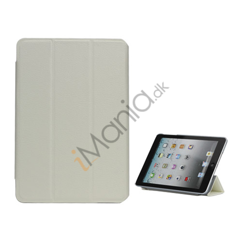 Folio Style Leather Magnetic Case Cover til iPad Mini - Hvid