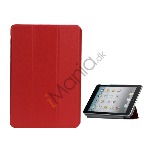 Folio Style Leather Magnetic Case Cover til iPad Mini - Rød