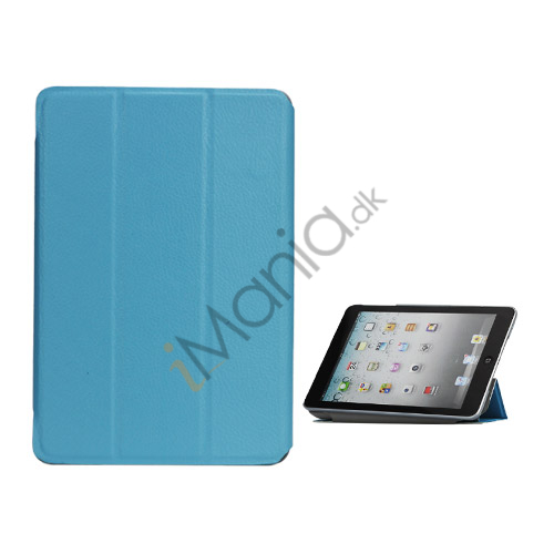 Folio Style Leather Magnetic Case Cover til iPad Mini - Blå