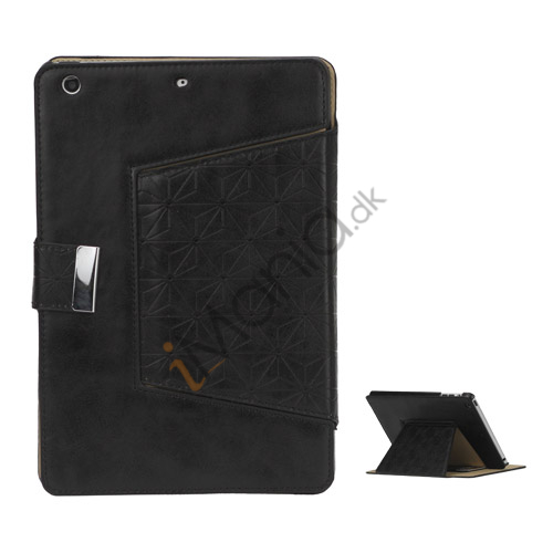 Geometric Pattern Stand Leather Flip Case Accessories til iPad Mini - Sort