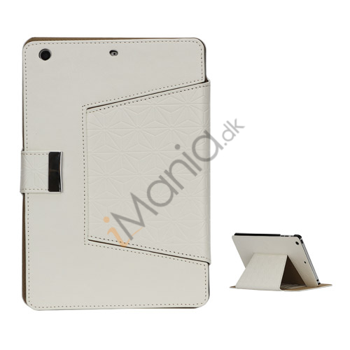 Geometric Pattern Stand Leather Flip Case Accessories til iPad Mini - Hvid