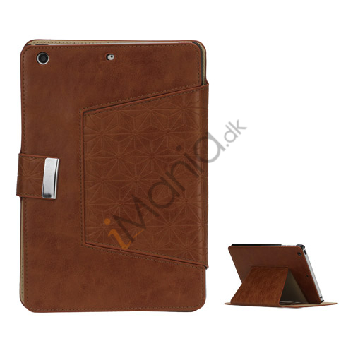 Geometric Pattern Stand Leather Flip Case Accessories til iPad Mini - Brun