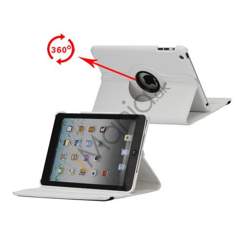 Image of   360 Degree Rotating PU Leather Case Cover Stand til iPad Mini - Hvid