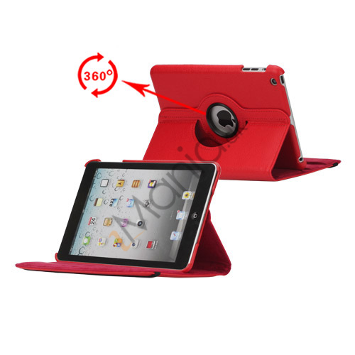 360 Degree Rotating PU Leather Case Cover Stand til iPad Mini - Rød