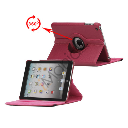 360 Degree Rotating PU Leather Case Cover Stand til iPad Mini - Rose