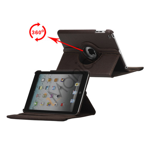 Image of   360 Degree Rotating PU Leather Case Cover Stand til iPad Mini - Brun