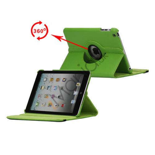 Image of   360 Degree Rotating PU Leather Case Cover Stand til iPad Mini - Grøn