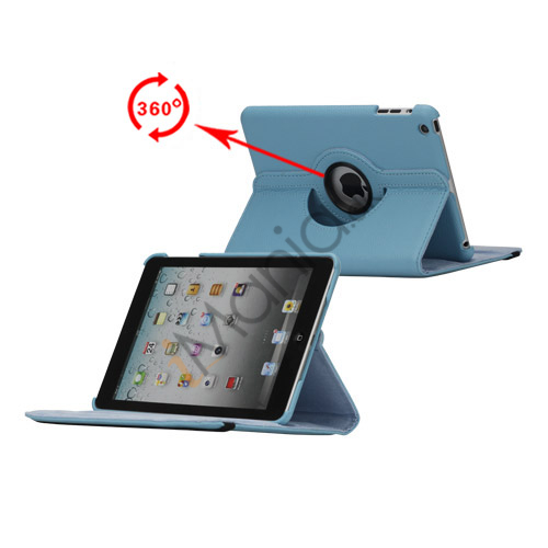 Image of   360 Degree Rotating PU Leather Case Cover Stand til iPad Mini - Baby Blå