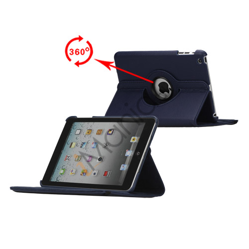 Image of   360 Degree Rotating PU Leather Case Cover Stand til iPad Mini - Mørkeblå