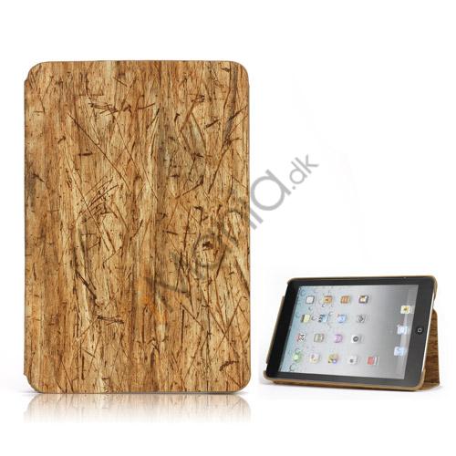 Træ Skin Læder Stand Case Cover til iPad Mini - Brun