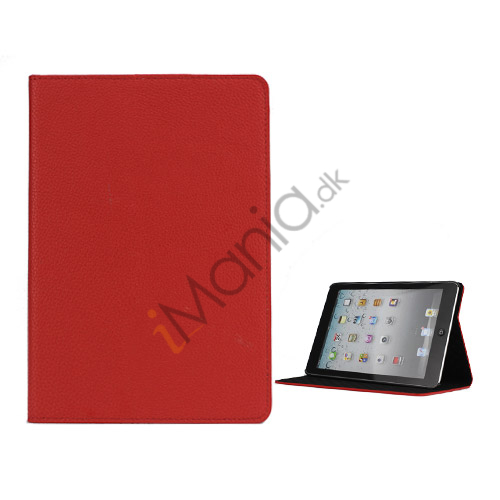Image of   Litchi Folio Lædertaske Cover med Stand til iPad Mini - Rød