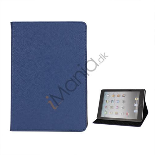 Image of   Litchi Folio Lædertaske Cover med Stand til iPad Mini - Blå