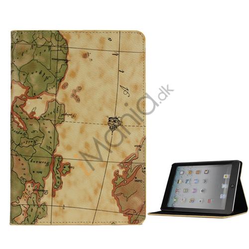 Billede af Verdenskort PU Læder Case Cover med Stand til iPad Mini - Light Brun