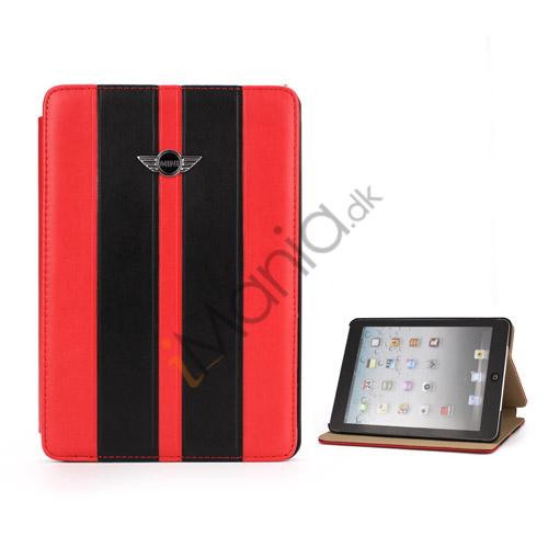 Billede af To-tone MINI Cooper Car Logo Læderetui Cover med Stand til iPad Mini - Sort / Rød