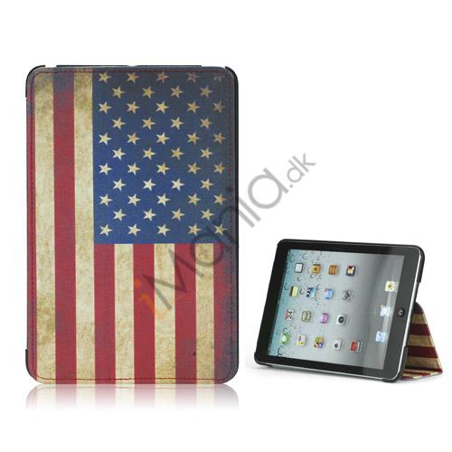 Image of   Vintage American National Flag iPad Mini Lædertaske med stativ
