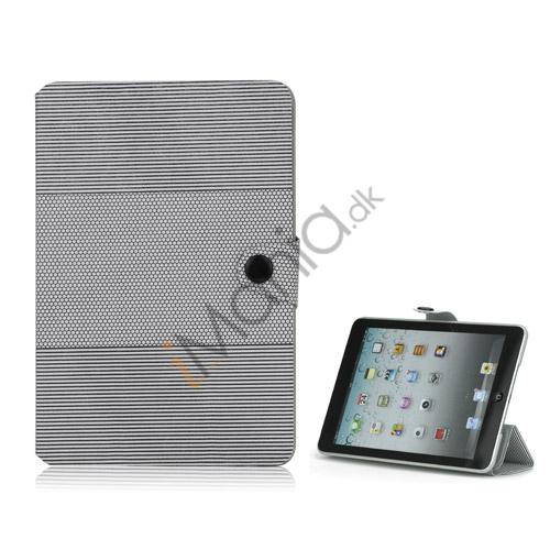 Image of   Fashion Vandret Stripe og fodbold Grain Magnetic Stand Lædertaske til iPad Mini - Gray