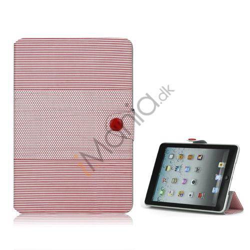 Image of   Fashion Vandret Stripe og fodbold Grain Magnetic Stand Lædertaske til iPad Mini - Rød