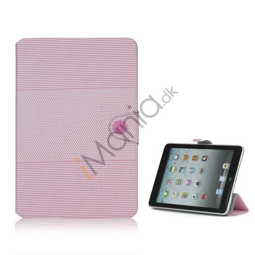 Image of   Fashion Vandret Stripe og fodbold Grain Magnetic Stand Lædertaske til iPad Mini-Pink