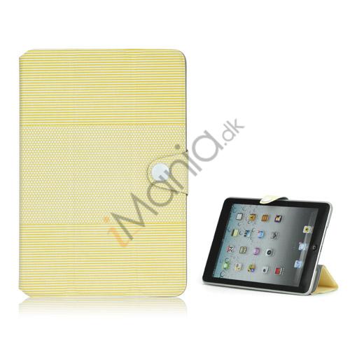 Image of   Fashion Vandret Stripe og fodbold Grain Magnetic Stand Lædertaske til iPad Mini - Gul