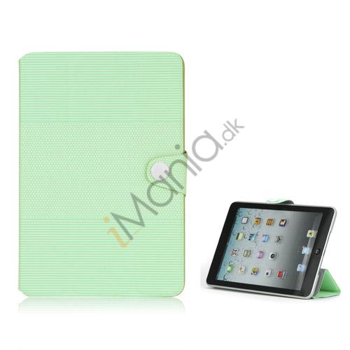 Image of   Mode Vandret Stripe og fodbold Grain Magnetic Stand Lædertaske til iPad Mini - Grøn