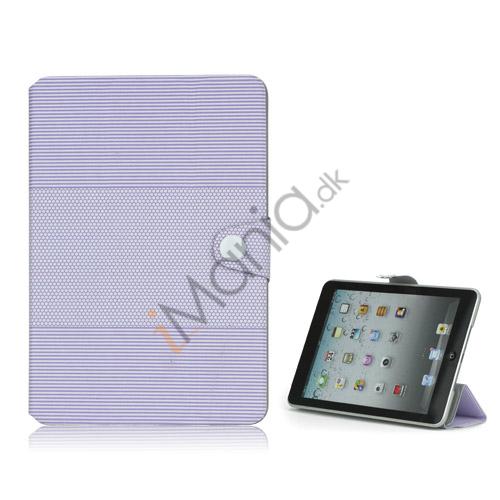 Fashion Vandret Stripe og fodbold Grain Magnetic Stand Lædertaske til iPad Mini-Lilla