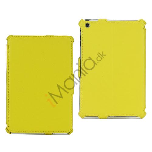 Mønstret Lychee Leather Folio Cover Case til iPad Mini - Gul