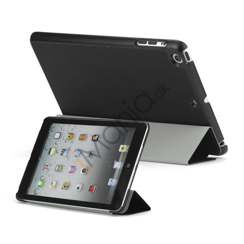 Slim PU Læder Case Cover med Wake Sleep Stand til iPad Mini - Sort