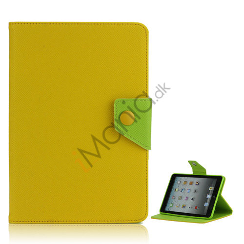 Magnetic Folio Mønstret Leather Stand Case Cover til iPad Mini - Gul