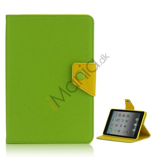 Magnetic Folio Mønstret Leather Stand Case Cover til iPad Mini - Grøn