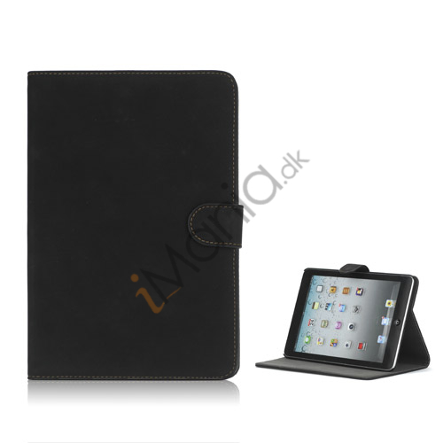 Antique Grain Magnetic Stand PU Leather smart Cover Case til iPad Mini - Sort