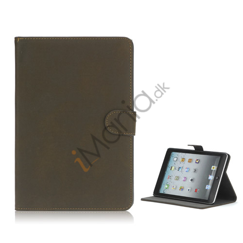 Image of   Antique Grain Magnetic Stand PU Leather smart Cover Case til iPad Mini - Coffee