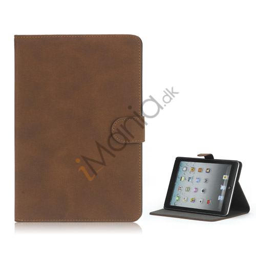 Image of   Antique Grain Magnetic Stand PU Leather smart Cover Case til iPad Mini - Brun