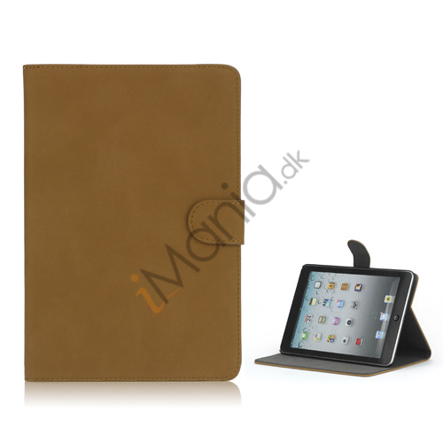 Image of   Antique Grain Magnetic Stand PU Leather smart Cover Case til iPad Mini - Light Brun