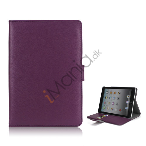 Image of   iPad Mini Smart Cover Magnetic Stand PU Lychee Leather Case - Dark Lilla
