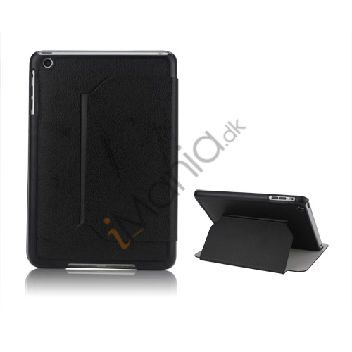 Slim Fit Folio PU Leather Shell Cover til iPad Mini with Stand Lychee Skin - Sort