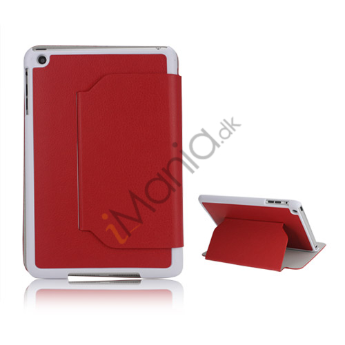 Slim Fit Folio PU Leather Shell Cover til iPad Mini with Stand Lychee Skin - Rød