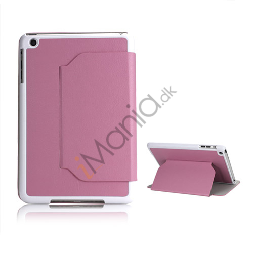 Slim Fit Folio PU Leather Shell Cover til iPad Mini with Stand Lychee Skin - Pink