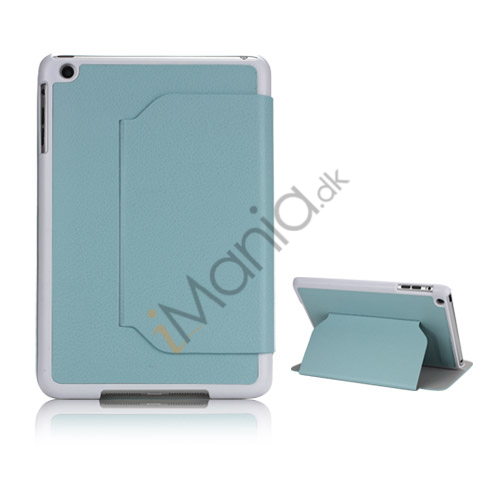 Slim Fit Folio PU Leather Shell Cover til iPad Mini with Stand Lychee Skin - Blå