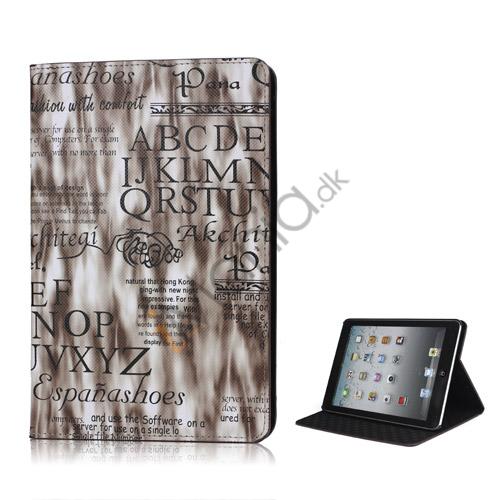 Image of   Lys Streamer English Words Mønster Smart Læder Stand Case til iPad Mini - Kaffe