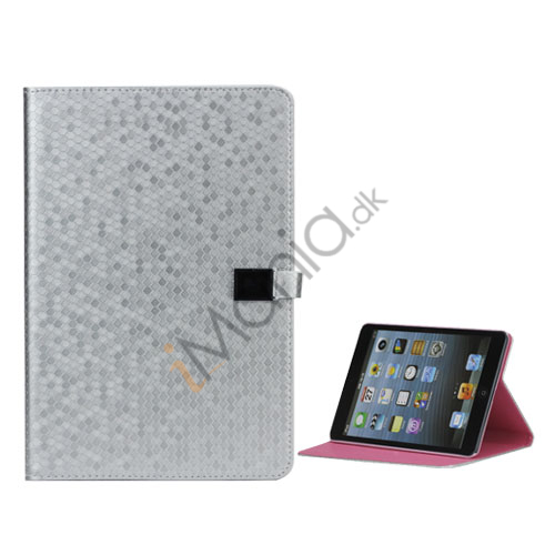 Image of   Fodbold Grain PU Læder Card Stand Case Cover til iPad Mini - Sølv
