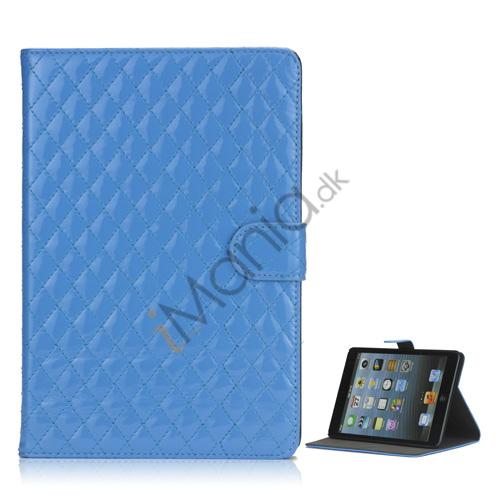 Gorgeous Rhombus Design Folio Standby Lædertaske til iPad Mini - Blå